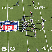 A general overhead view of action showing the NFL logo and field markings during the New York Jets V New England Patriots NFL regular season game at MetLife Stadium, East Rutherford, NJ, USA. 20th October 2013. Photo Tim Clayton