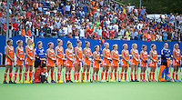 BOOM - Het Nederlands team voor de eerste poule wedstrijd van Oranje tijdens het Europees Kampioenschap hockey   tussen de vrouwen Nederland en Ierland (6-0). ANP KOEN SUYK