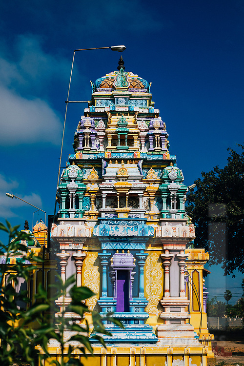Details and carvings of a small Hindu temple, Jaffna, Sri Lanka, Asia