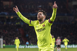 November 28, 2018 - Eindhoven, Netherlands - Lionel Messi of Barcelona celebrates his goal during the UEFA Champions League Group B match between PSV Eindhoven and FC Barcelona at Philips Stadium in Eindhoven, Netherlands on November 28, 2018  (Credit Image: © Andrew Surma/NurPhoto via ZUMA Press)