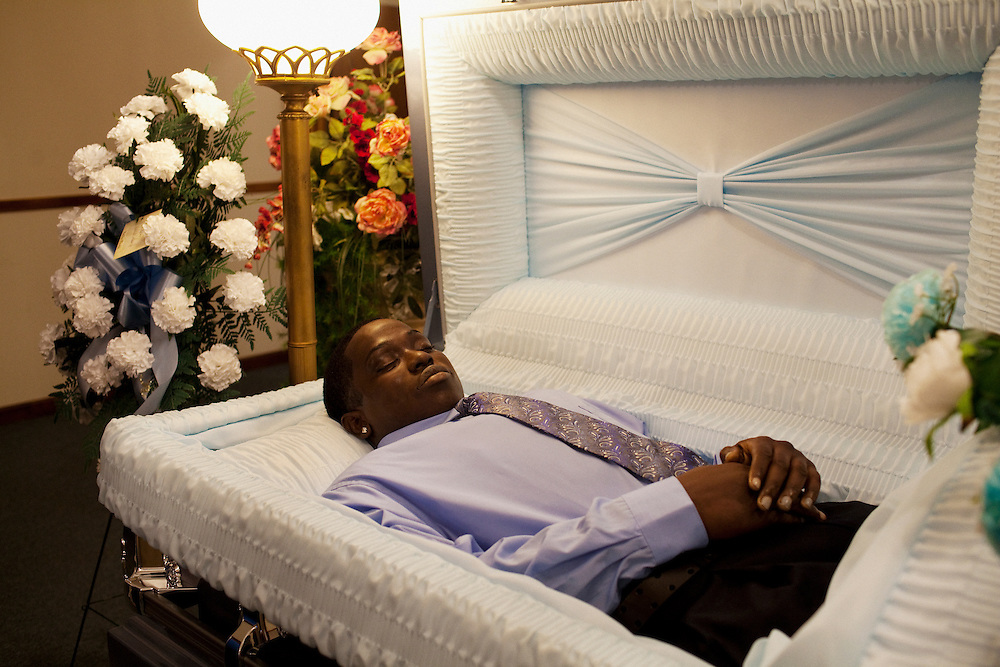 """The wake of Demetrius """"Butta"""" Anderson, 18, in Greenwood, Mississippi on Thursday, November 4, 2010. Butta was shot and killed on October 27, 2010 by a man he had assaulted a year before. His older brother was shot and killed in 1996 and his cousin, Bianca Keys, was also 18 when she was murdered in 2009. Butta's girlfriend is pregnant, due in December."""