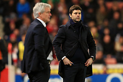 Stoke City Manager Mark Hughes and Tottenham Hotspur Manager Mauricio Pochettino  - Mandatory by-line: Matt McNulty/JMP - 18/04/2016 - FOOTBALL - Britannia Stadium - Stoke, England - Stoke City v Tottenham Hotspur - Barclays Premier League