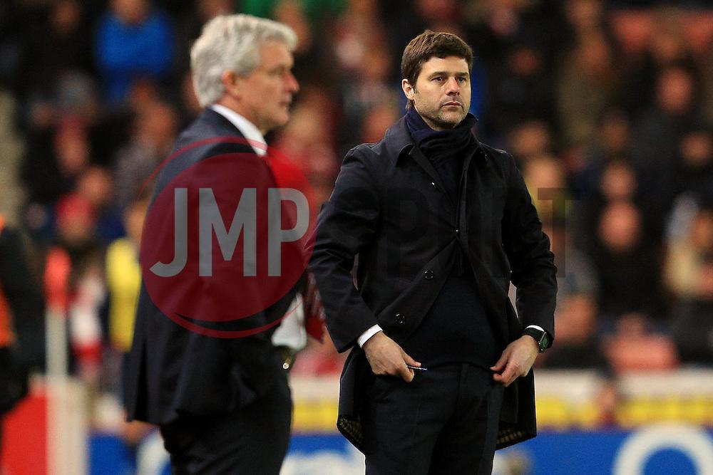 Stoke City Manager Mark Hughes and Tottenham Hotspur Manager Mauricio Pochettino  - Mandatory by-line: Matt McNulty/JMP - 18/04/2016 - FOOTBALL - Britannia Stadium - Stoke, England - Stoke City v Tottenham Hotspur - Barclays Premier League