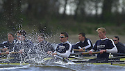 © Peter Spurrier / Intersport images.email images@Intersport.co.uk - Tel +44 208 876 8611.2003 - Rowing - 149th Varsity Boat Race - Tideway Training Week - 02/04/03  - Photo Peter Spurrier.Oxford v isis.The blue Boat and the reserve crew, Isis, race through the rough water during their afternoon training session. Oxfords Blue Boat, closest, and left to right Matt Smith, Henry Morris and David Livingstone, Varsity Boat Race [Mandatory Credit: Peter Spurrier; Intersport Images.] Rough, Choppy, Water, Conditions.