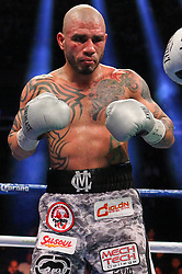 Dec 1, 2012; New York, NY, USA; Miguel Cotto during his 12 round WBA Super Welterweight Championship bout against Austin Trout (not shown) at Madison Square Garden.