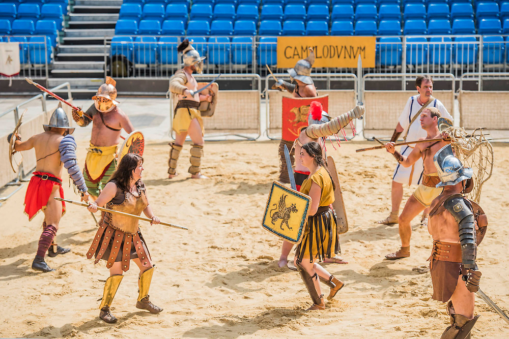 Gladiators gather on the site of London's only performers that worked on Ridley Scott's Gladiator film will clash on the spot where gladiators battled 2,000 years ago in the courtyard of the Guildhall. Ten public evening and matinee performances will take place on selected dates between 8 and 16 August. Full information and tickets at www.museumoflondon.org.uk<br /> <br /> <br /> Hidden for centuries, the ancient remains of London's Roman amphitheatre were discovered by archaeologists in 1988. They are open for viewing all year. The Gladiator Games are performed by Britannia, renowned for its work on the Ridley Scott film, Gladiator. Each performance is the result of research into events in the 1st century A.D., using images drawn from Roman coins, paintings, sculpture and mosaics.