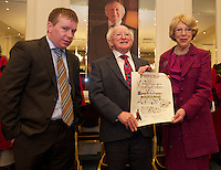 11 May 2012 President Michael D. Higgins who received the freedom of Galway city from Galway city Council in Hotel Meyrick accompanied by his son Daniel and Wife Sabina. Photo:Andrew Downes