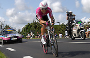 FRANCE 28th JULY 2007: T-Mobile's Kim Kirchen powers towards Angouleme during the final time trial of the 2007 Tour de France.