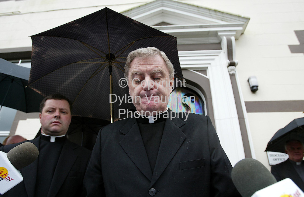 1/4/2002 Irish Independent News.The Bishop of Ferns Dr Brendan Comiskey picture at the press conference outside the Bishops Palace in Wexford yesterday..Picture Dylan Vaughan