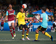 HKFC Citibank Soccer sevens Cup final Aston Villa vs West Ham United. Aston Villa take the cup. Aston Villas's KHALID ABDO (L) heads the ball to the Aston Villa Goalkeeper (R) MITCH CLARK