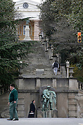 Pedestrians on Monument Terrace, downtown Lynchburg, Virginia. Stairs lead up the hill to the courthouse. Corner of Church & 9th Streets. Monuments to veterans from the Civil War to Vietnam Wars. WWI monument is a statue of a Marine Rifleman  (globe and anchor on the helmet)  NO MODEL RELEASES
