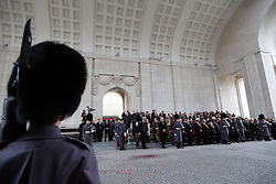The Duke of Edinburgh at the Menin Gate in Ypres, Belgium, at a ceremony on Armistice Day to mark the gathering of soil for the Flanders Fields Memorial Garden at the Guards Museum in London, Monday, 11th November 2013. Picture by Stephen Lock / i-Images