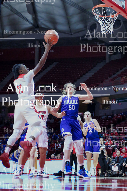 NORMAL, IL - January 06: Te Te Maggett during a college women's basketball game between the ISU Redbirds and the Drake Bulldogs on January 06 2019 at Redbird Arena in Normal, IL. (Photo by Alan Look)