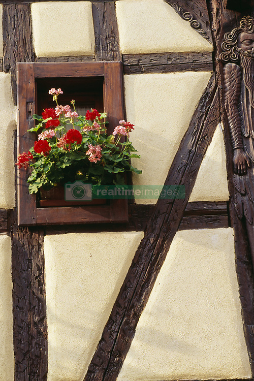 July 21, 2019 - Geraniums In Window Of Half-Timbered House (Credit Image: © Bilderbuch/Design Pics via ZUMA Wire)