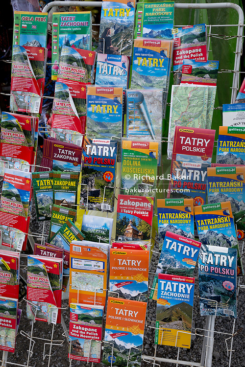 A display of Polish hiking train maps for the Tatra National Park and the Zakopane region of southern Poland and bordering northern Slovakia, at a trail head, on 18th September 2019, in near Zakopane, Malopolska, Poland.