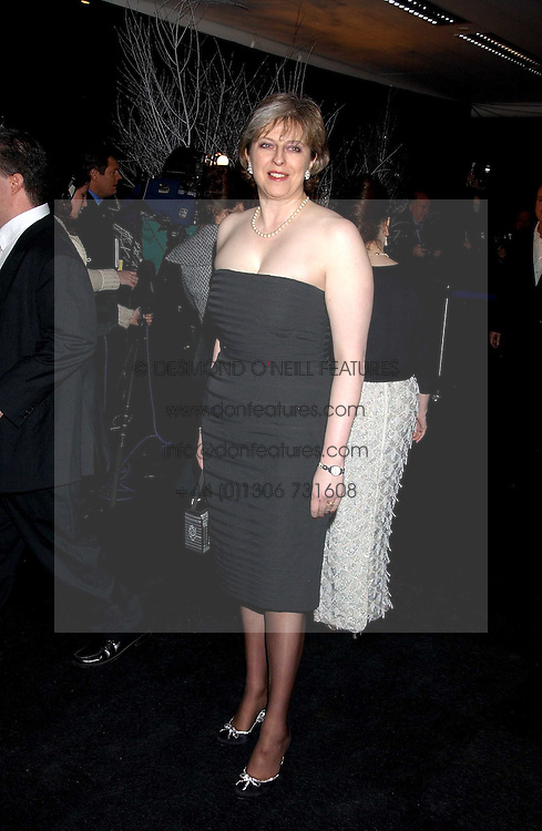 THERESA MAY MP at the Conservative Party's Black & White Ball held at Old Billingsgate, 16 Lower Thames Street, London EC3 on 8th February 2006.<br /><br />NON EXCLUSIVE - WORLD RIGHTS