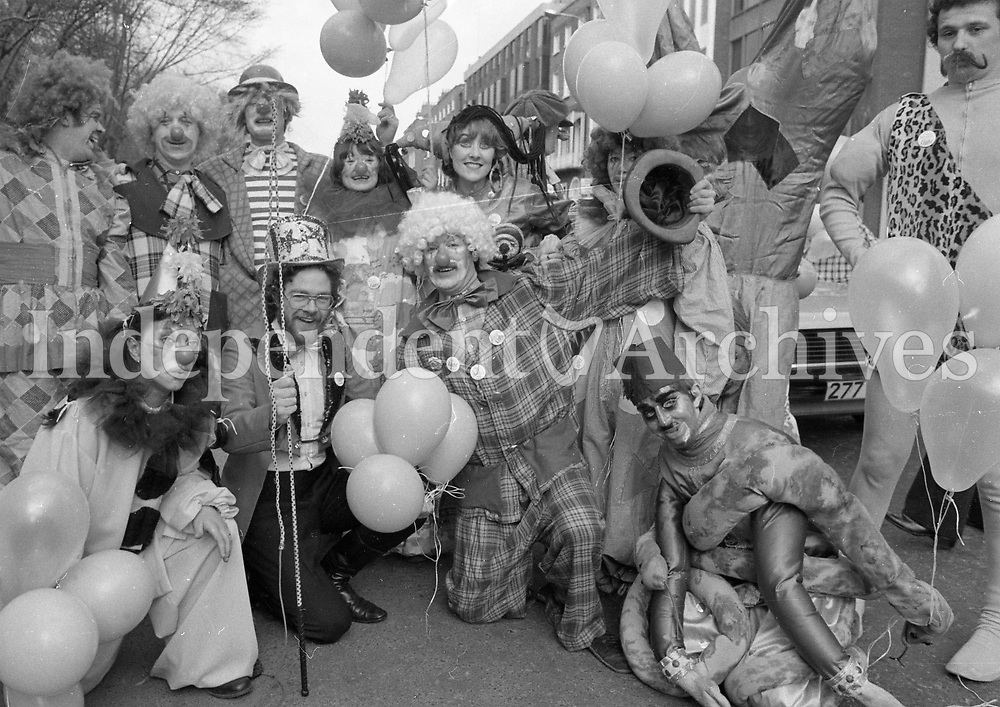 Clowning around, image of clowns from the St Patrick's Day parade, March 17 1980. <br />