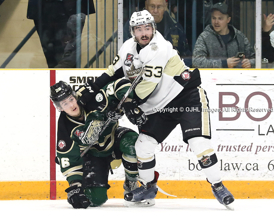 TRENTON, ON - APR 4,  2017: Ontario Junior Hockey League North East Conference Championship game between  Trenton Golden Hawks and the Cobourg Cougars, Josh Allan #53 of the Trenton Golden Hawks makes the hit on Jake Bricknell #26 of the Cobourg Cougars during the second period<br /> (Photo by Ed McPherson / OJHL Images)