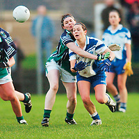 30 November 2007; Sinead Kelly, West Clare Gaels, Clare, in action against Anne-Marie Murphy, Foxrock Cabinteely, Dublin. VHI Healthcare All-Ireland Ladies Junior Club Football Championship Final, West Clare Gaels, Clare v Foxrock Cabinteely, Dublin, Toomevarra, Co. Tipperary. Picture credit: Brian Lawless / SPORTSFILE *** NO REPRODUCTION FEE ***