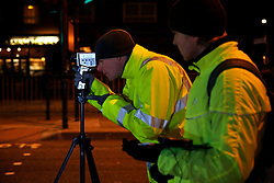 UK ENGLAND LONDON 23NOV10 - Engineers contracted by TfL (Transport for London) measure lighting levels of LED street lighting on a test site at Blackfriars Road, Southwark, central London...Light-emitting diode (LED) lamps, combined with smart controls, can cut CO2 emissions 50 to 70%. Lighting accounts for nearly 10% of global CO2 emissions, more than cars worldwide...jre/Photo by Jiri Rezac..© Jiri Rezac 2010