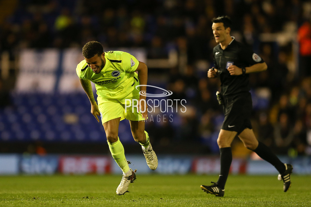 Goal scorer Brighton central defender, Connor Goldson (17) feels a kick during the Sky Bet Championship match between Birmingham City and Brighton and Hove Albion at St Andrews, Birmingham, England on 5 April 2016. Photo by Simon Davies.