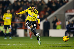 Andre Gray of Brentford shoots and scores a goal to make it 0-2 - Photo mandatory by-line: Rogan Thomson/JMP - 07966 386802 - 05/11/2014 - SPORT - FOOTBALL - Nottingham, England - City Ground - Nottingham Forest v Brentford - Sky Bet Championship.