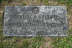 31 August 2017:   Veterans graves in Park Hill Cemetery in eastern McLean County.<br /> <br /> William B Butzirus  Illinois  Sgt Quartermaster Corps World War I  Oct 31 1886  April 7 1953