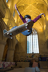 &copy; Licensed to London News Pictures 15/02/2017, Malmesbury, UK. The &quot;Malmesbury Abbey Skate&quot; now in its's 9th year, where the interior of the 12th century abbey in Malmesbury, Wiltshire is turned into a skate park for 3 days during the February half term. Pictured here: 14 year old Sam Vugts getting &quot;some air&quot;.<br /> Photo Credit : Stephen Shepherd/LNP