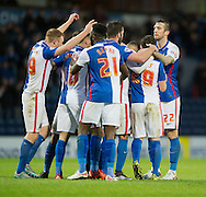 Blackburn Rovers players congratulate their team-mate Corry Evans (2nd right) after he put their team 2-1 up during the Sky Bet Championship match at Ewood Park, Blackburn<br /> Picture by Russell Hart/Focus Images Ltd 07791 688 420<br /> 28/11/2015
