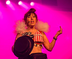 Pictured: Moonwalk Scotland, Edinburgh, Scotland, United Kingdom, 08 June 2019. The The 14th Moonwalk Scotland 'Walk the Walk' night-time event with several thousand participants wearing specially decorated bras wjth a circus theme to raise money  and awareness for breast cancer causes. Founder & Chief Executive, Nina Barough with a bra designed by Jenners.<br /> <br /> Sally Anderson | EdinburghElitemedia.co.uk