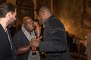 LARRY CARTY; BARTHELEMYN TOGUO; CHRIS OFILI, Okwui Enwezor and Vinyl Facorty hosted party at Ca'Sagredo, Campo Santa Sofia Venice Biennale, Venice. 5 May 2015