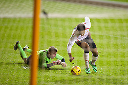 BLACKPOOL, ENGLAND - Wednesday, December 18, 2013: Liverpool's Jordon Ibe rounds Blackpool's goalkeeper Connor Hunt to score the opening goal during the FA Youth Cup 3rd Round match at Bloomfield Road. (Pic by David Rawcliffe/Propaganda)
