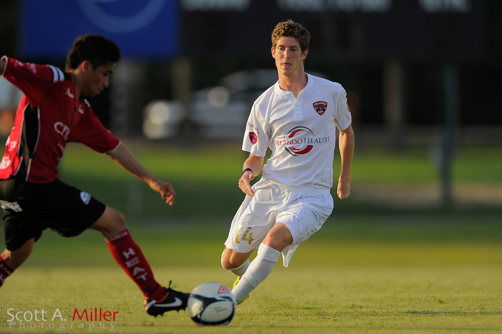 Orlando City midfielder Gonzalo de Mujica (14) in action during Orlando City's 2-1 win over Laredo Heat in their PDL Southern Conference Championships playoff game at Trinity Catholic High Schooll on July 20, 2012 in Ocala, Florida. ..©2012 Scott A. Miller