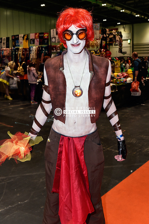 A cosplay enthusiast attending the MCM London Comic Con at the Excel centre.