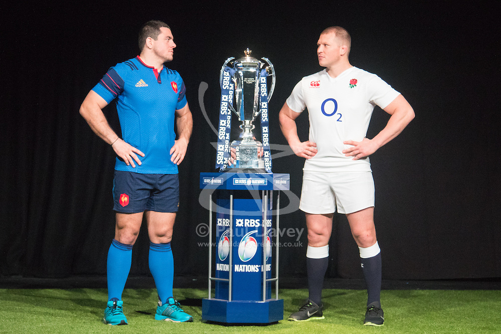Hurlingham Club, London, January 27th 2016. France Captain Guilhem Guirado and England Captain Dylan Hartley at the launch of the RBS Six Nations Rugby Tornament. ///FOR LICENCING CONTACT: paul@pauldaveycreative.co.uk TEL:+44 (0) 7966 016 296 or +44 (0) 20 8969 6875. ©2015 Paul R Davey. All rights reserved.