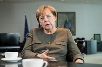 13 SEP 2017, BERLIN/GERMANY:<br /> Angela Merkel, CDU, Bundeskanzlerin, waehrend einem Interview, in Ihrem Buero, Bundeskanzlerin<br /> IMAGE: 20170917-01-006<br /> KEYWORDS: B&uuml;ro