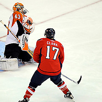 13 January 2008:  Philadelphia Flyers goalie Martin Biron (43) stops a shot that gets under his mask in the 1st period by Washington Capitals right wing Chris Clark (17) at the Verizon Center in Washington, D.C.  The Flyers defeated the Capitals  6-4.