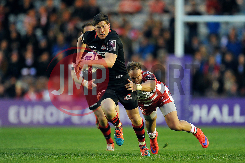 Sam Beard of Edinburgh Rugby takes on the Gloucester defence - Photo mandatory by-line: Patrick Khachfe/JMP - Mobile: 07966 386802 01/05/2015 - SPORT - RUGBY UNION - London - The Twickenham Stoop - Edinburgh Rugby v Gloucester Rugby - European Rugby Challenge Cup Final