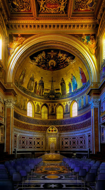 """""""Altar of the basilica of the Arch of San Giovanni in Laterano""""...<br /> <br /> Dedicated to St. John the Baptist and St. John the Evangelist, the Basilica of St. John Lateran is the first among the four major basilicas of Rome. It is also the Cathedral of the Bishop of Rome, the Pope, and is thus known as the """"Cathedral of Rome and of the World."""" Built by Constantine the Great in the 4th century, San Giovanni in Laterano was the first Christian/Catholic church erected in Rome. The present structure of the Basilica resembles Saint Peter's Basilica, and the ancient church was residence of the Papacy until the (1377) return from exile in Avignon and permanent relocation to the Vatican. Many Popes were responsible for repair and additions to the Basilica's overall splendor and importance throughout the last 1700 years."""