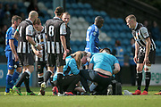 Scott Leather (Chorley) receives treatment for what looks like a serious head wound during the Vanarama National League North Play Off final match between FC Halifax Town and Chorley at the Shay, Halifax, United Kingdom on 13 May 2017. Photo by Mark P Doherty.