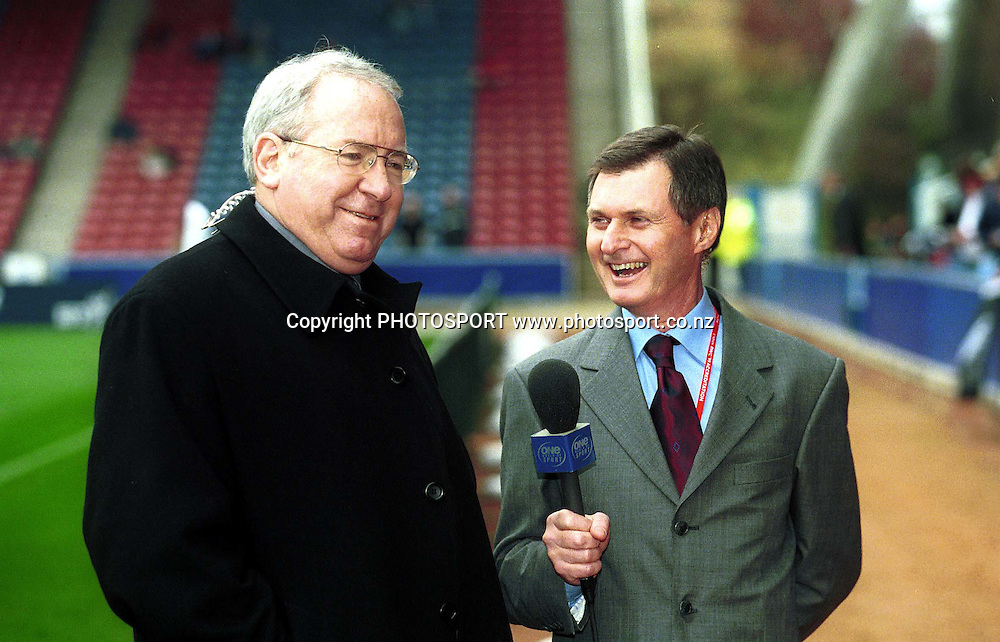 Keith Quinn and John Macbeth, Rugby World Cup, 1999. Commentators/Media. Rugby Union. Photo: photosport.co.nz