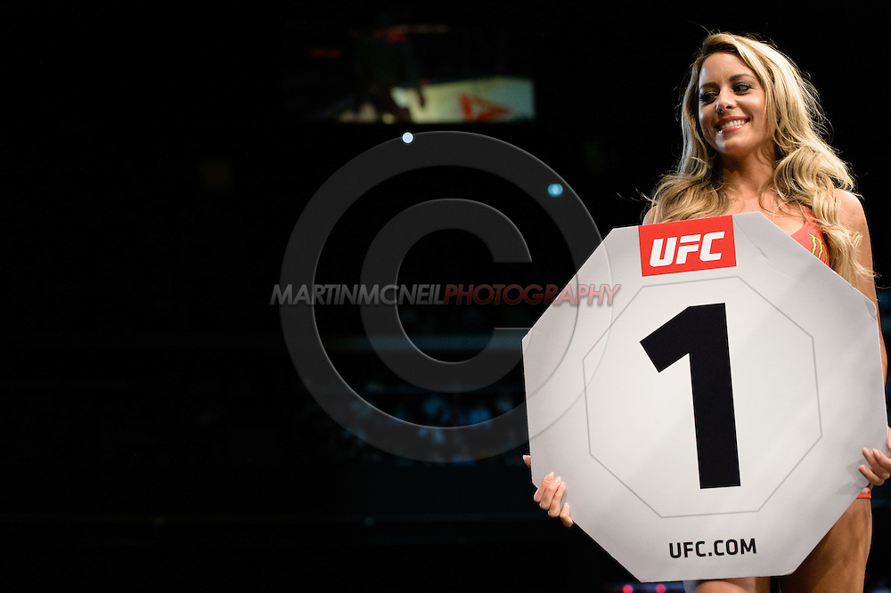 "GLASGOW, SCOTLAND, JULY 18, 2015: Carly Baker walks on the cage apron during ""UFC Fight Night 72: Bisping vs. Leites"" inside the SSE Hydro Arena in Glasgow, Scotland (Martin McNeil for ESPN)"