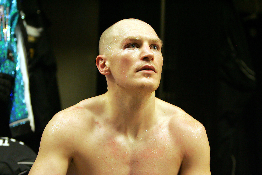 Matthew Hatton in the changing room after winning his fight. Ricky Hatton v Floyd Mayweather, Las Vegas, Nevada.