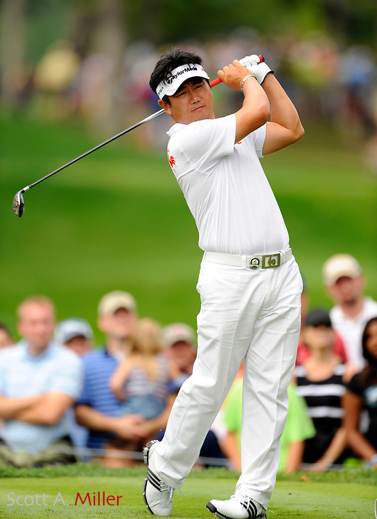 Aug 16, 2009; Chaska, MN, USA; Y.E. Yang (KOR) hits his tee shot on the 5th hole during the final round of the 2009 PGA Championship at Hazeltine National Golf Club.  ©2009 Scott A. Miller