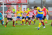 Accrington Stanley's Shay McCartan has a shot at goal during the Sky Bet League 2 match between Exeter City and Accrington Stanley at St James' Park, Exeter, England on 23 January 2016. Photo by Graham Hunt.