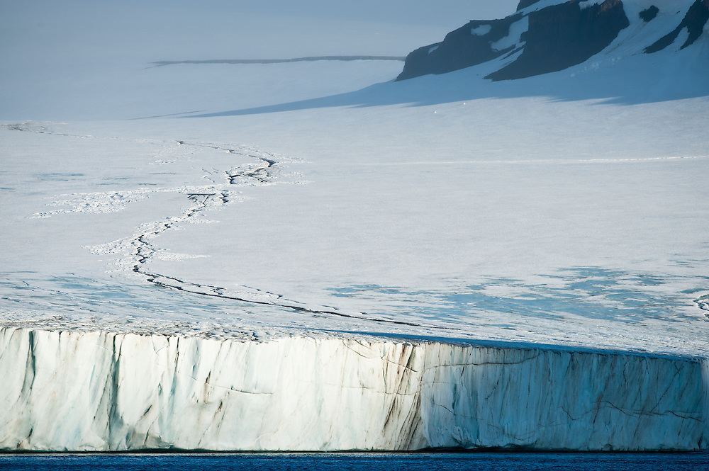 A glacial shelf in Tikhaya Bay, Franz Josef Land, Russian Arctic.