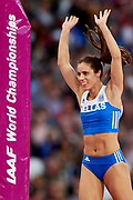 Great Britain, London - 2017 August 06: Ekaterini Stefanidi from Greece competes in women&rsquo;s pole vault final  during IAAF World Championships London 2017 Day 3 at London Stadium on August 06, 2017 in London, Great Britain.<br /> <br /> Mandatory credit:<br /> Photo by &copy; Adam Nurkiewicz<br /> <br /> Adam Nurkiewicz declares that he has no rights to the image of people at the photographs of his authorship.<br /> <br /> Picture also available in RAW (NEF) or TIFF format on special request.<br /> <br /> Any editorial, commercial or promotional use requires written permission from the author of image.