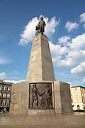 Poland Western Mazovia Lodz Plac Wolnosci (Liberty Square) statue of Tadeusz  Kosciuszko sculpted by Mieczyslaw Lubeiski