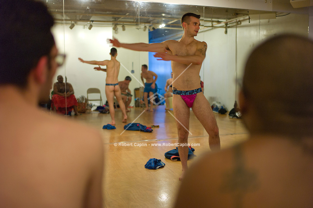 "Chris Harder teaches his ""Boylesque"" Class, Burlesque dancing for men, at Triskelion Arts Center in Williamsburg, Brooklyn...Photo © Robert Caplin.."