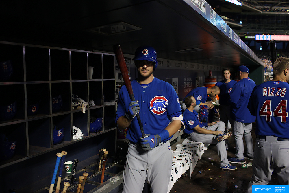 Kris Bryant, Chicago Cubs, in the dugout preparing to bat during the New York Mets Vs Chicago Cubs MLB regular season baseball game at Citi Field, Queens, New York. USA. 30th June 2015. Photo Tim Clayton